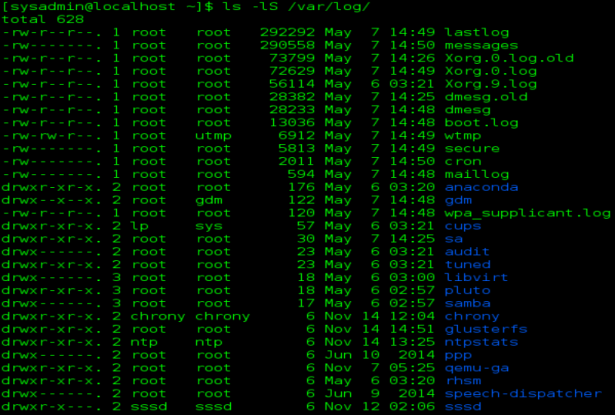 linux ls -l -S command errorbits.com
